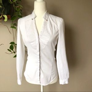 Zara white blouse button shirt ling sleeve S